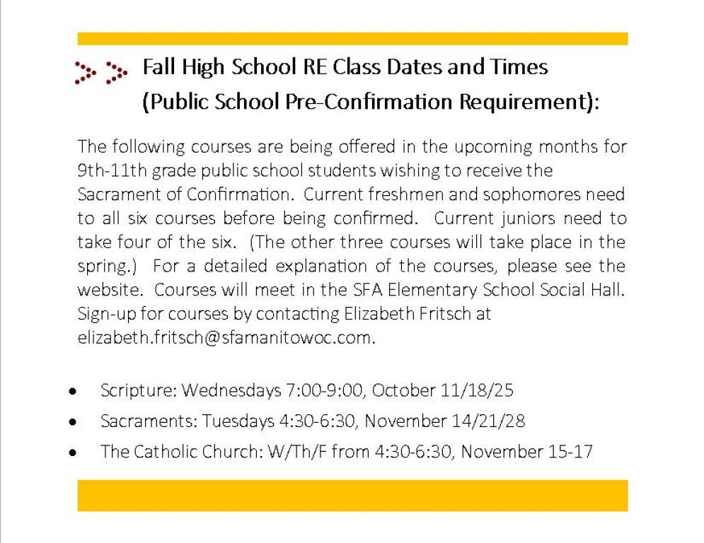 Fall 2017 High School RE Courses