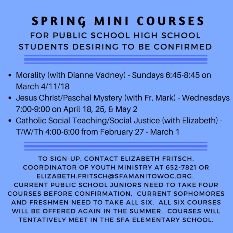 Spring 2018 High School Mini Courses