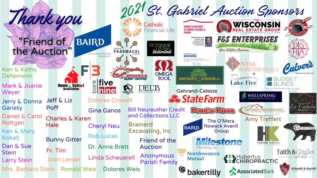 St. Gabriel Auction Sponsor List