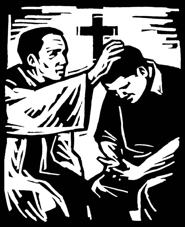 Priest absolving a penitent man