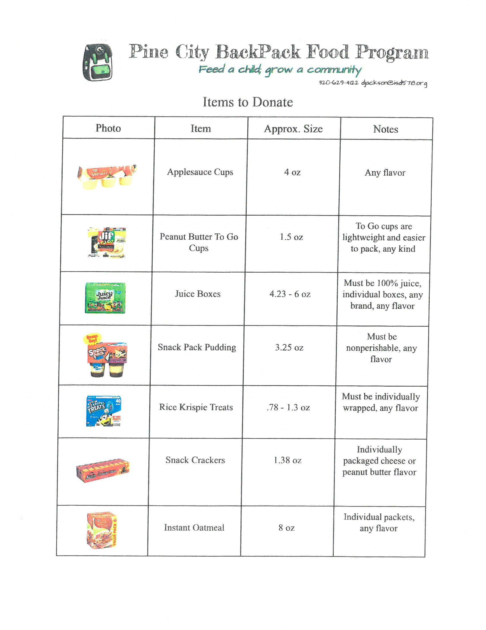Backpack food program 2017 18 immaculate conception church for Application plan cuisine